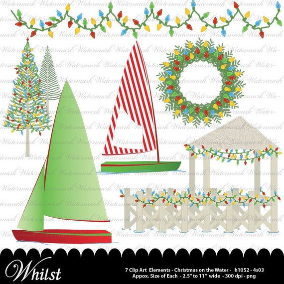 Christmas Nautical Clip art, Christmas clipart, sailboat digital.