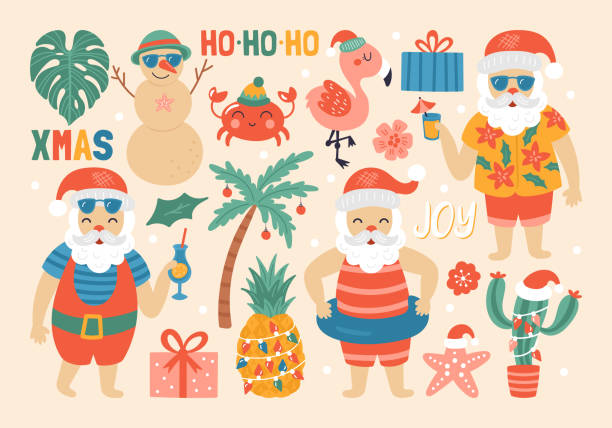 Best Beach Christmas Illustrations, Royalty.