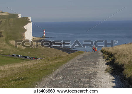 Stock Photography of England, East Sussex, Beachy Head, View along.