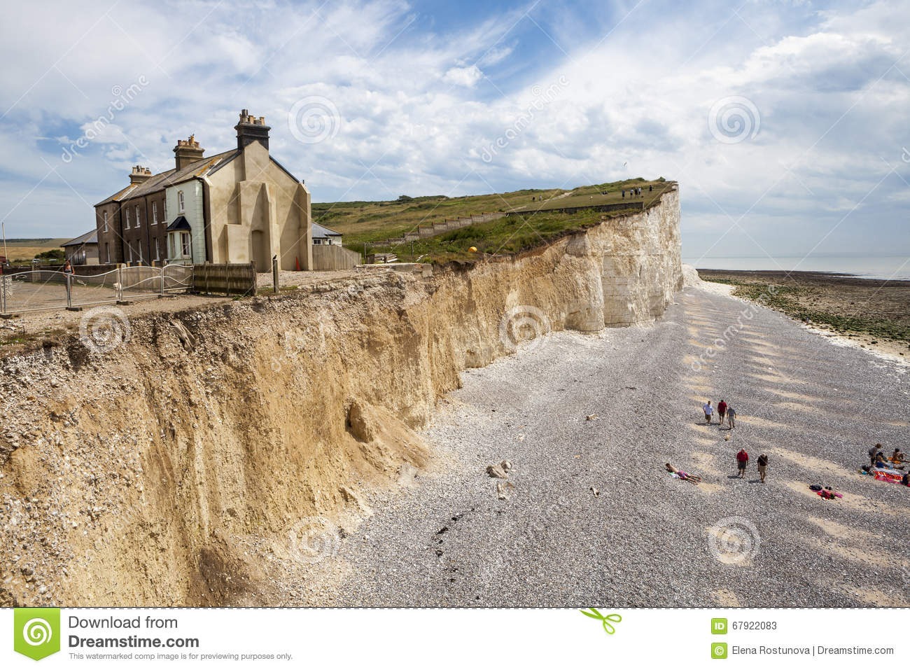 The Cliffs And Lighthouse At Beachy Head On The South Coast Of.