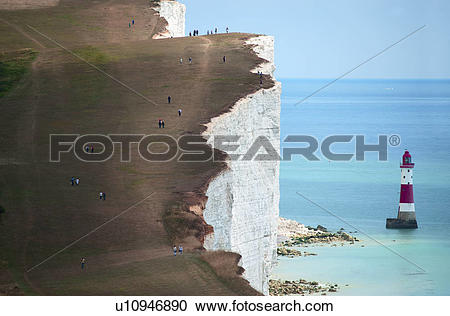 Stock Photography of England, East Sussex, Beachy Head. People.