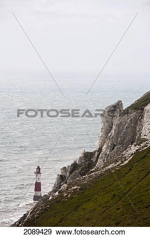 Stock Photograph of Lighthouse and beachy head; sussex, england.