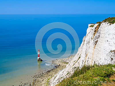 White Chalk Cliffs And Beachy Head Lighthouse, Eastbourne, East.