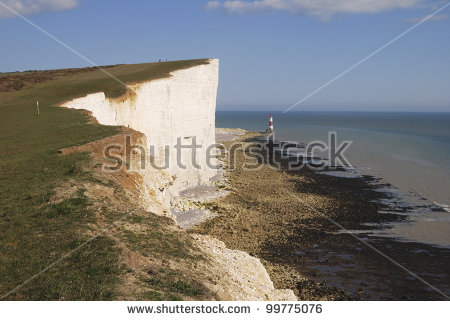 White Cliff Lighthouse Seven Sisters Sussex Stock Photo 60615547.