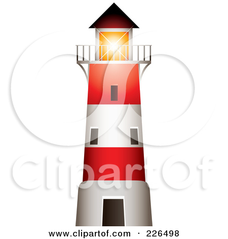 Path Leading To A White Lighthouse With A Bright Beacon Clipart.