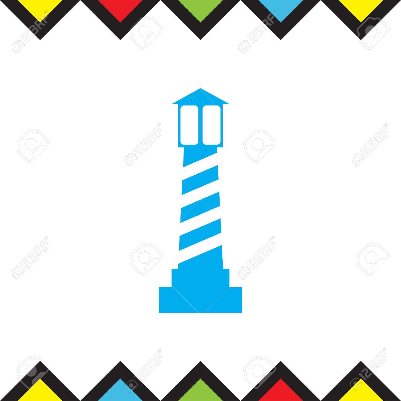 Lighthouse Vector Icon. Beacon Light Sign. Sea Light Symbol.