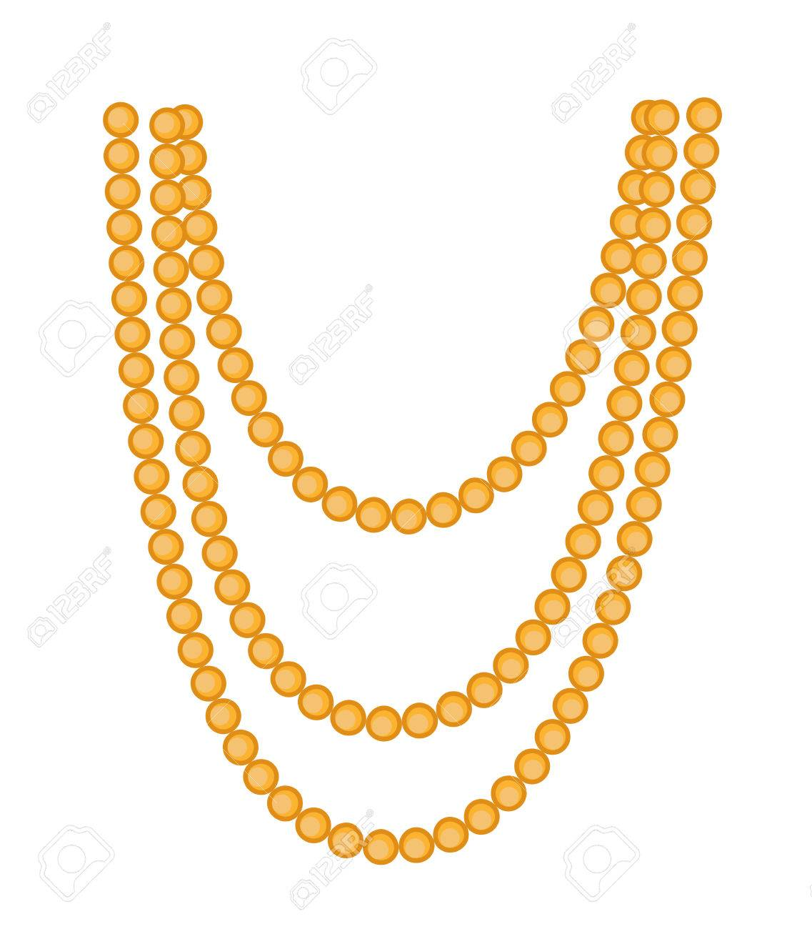 Retro Beads Necklace Clipart.