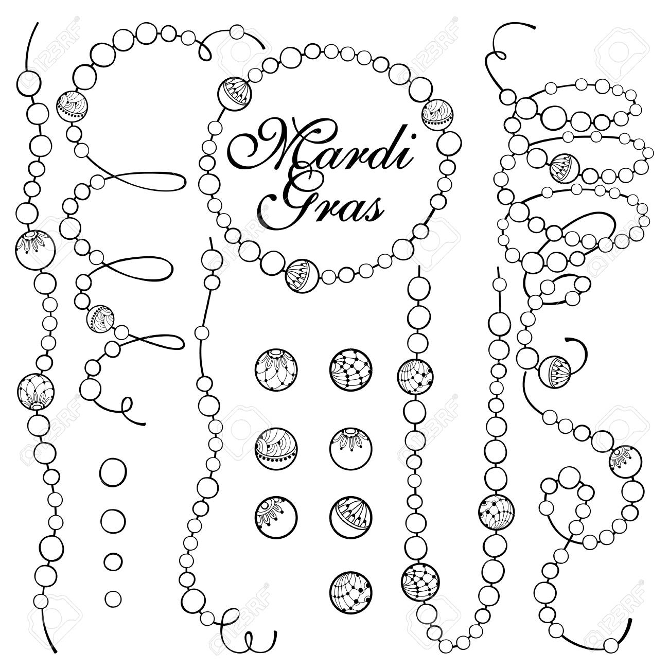 Set with outline Mardi Gras beads in black isolated on white...