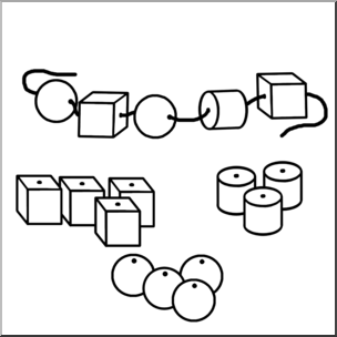 Clip Art: Classroom Manipulatives: Beads B&W.