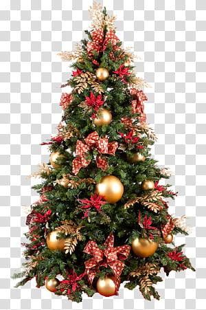 Xmas garland , green Christmas tree decor transparent.
