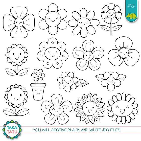 Kawaii Flowers Digital Stamp.