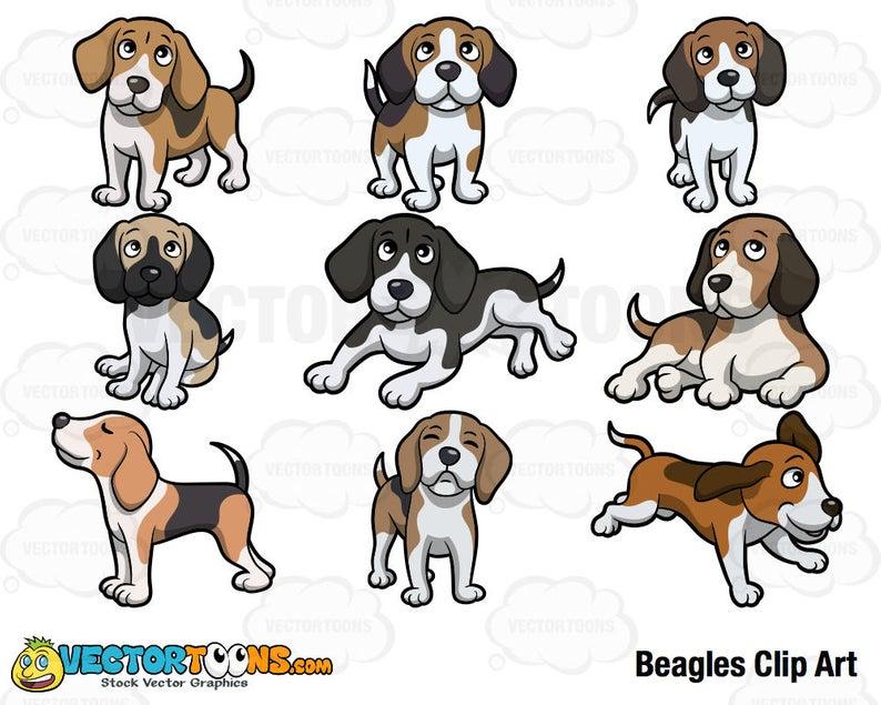 Beagles Clip Art, Digital Clipart, Digital Graphics.