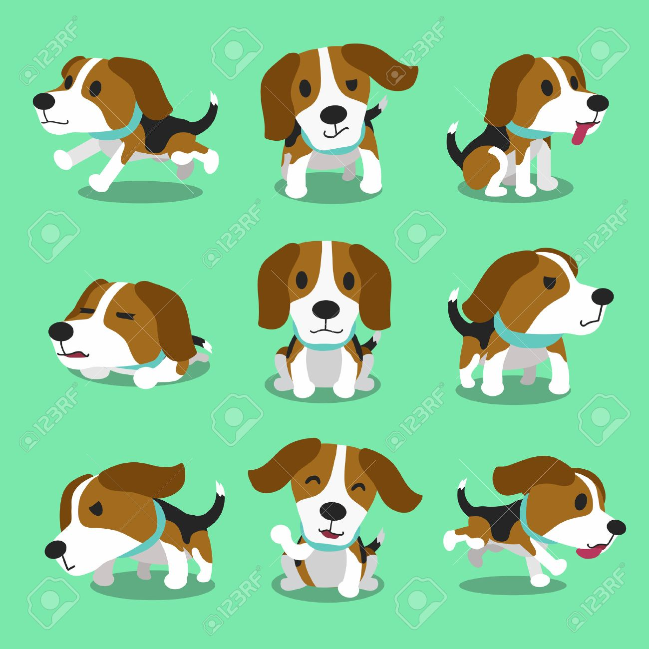 Cartoon character beagle dog poses.