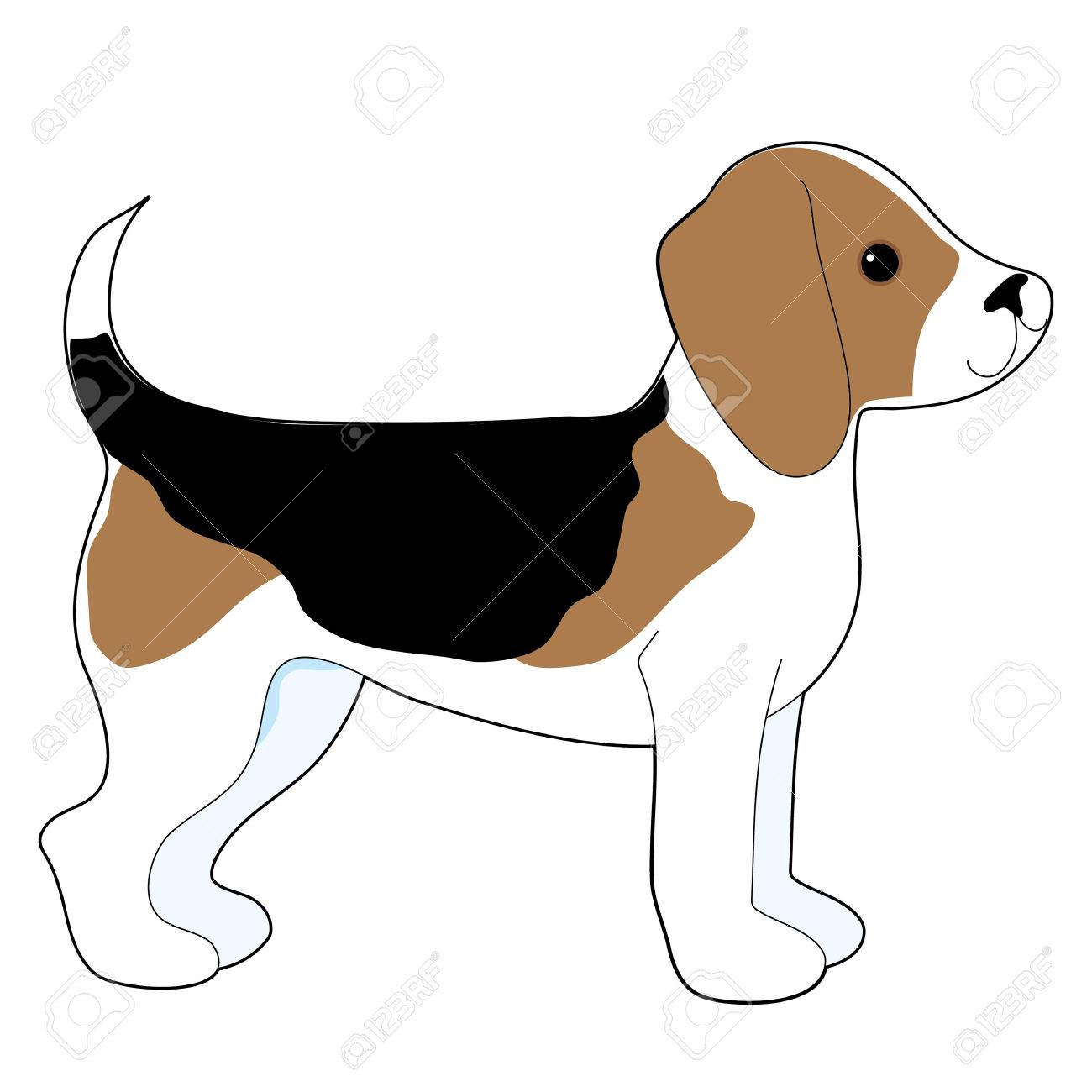 A cartoon drawing of a cute little Beagle puppy.