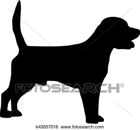 Beagle dog silhouette Clip Art.