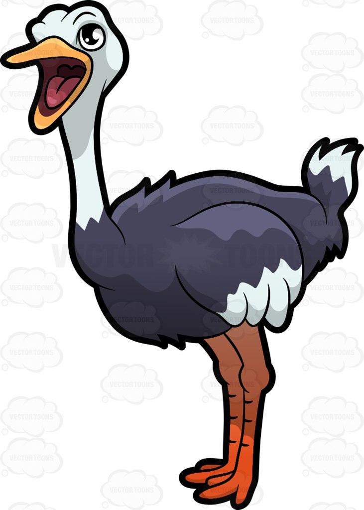 An Ostrich With Its Beak Open Cartoon Clipart.