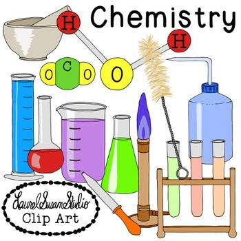 Chemistry Clip Art PNG JPG Commercial Personal Beakers Molecules Test Tubes  Lab.