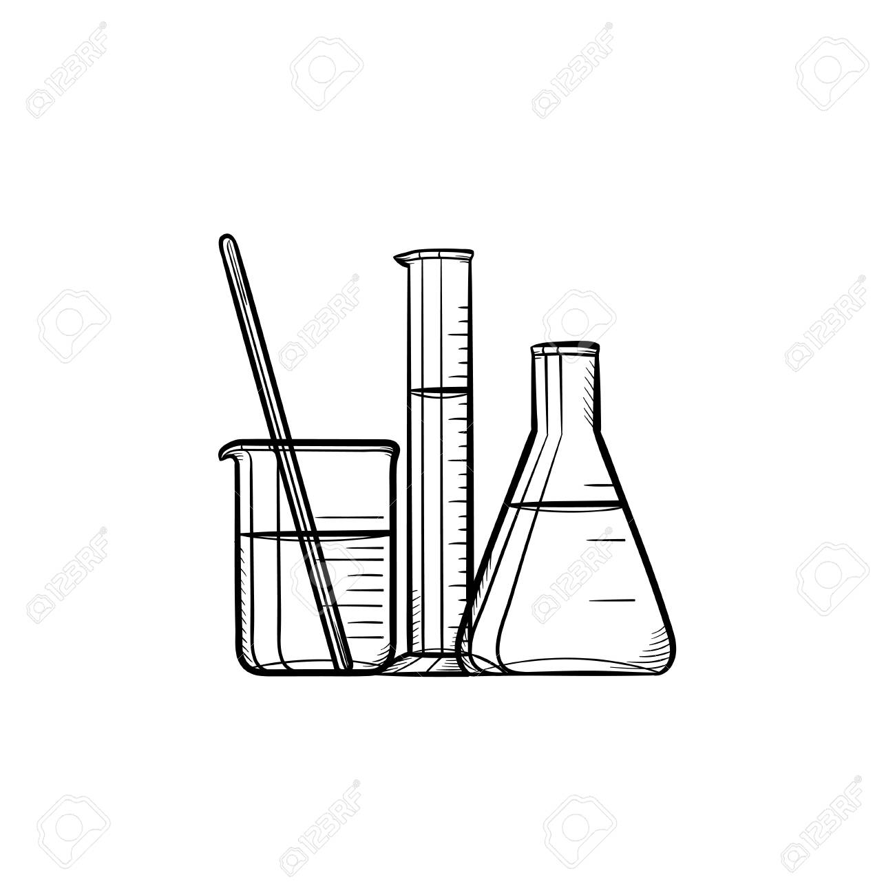 Laboratory equipment hand drawn outline doodle icon. Chemistry...
