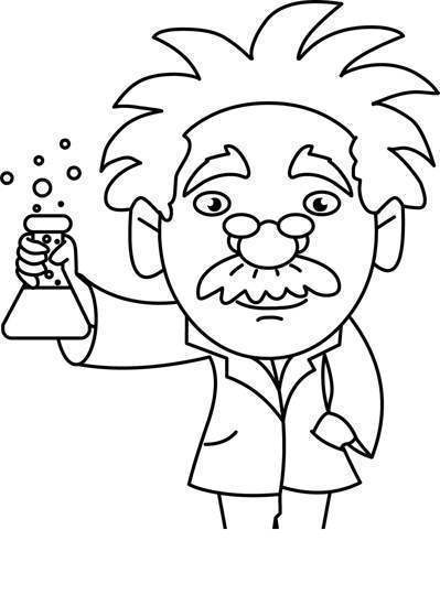 Black And White Science Clipart Beaker Scientist Holding.
