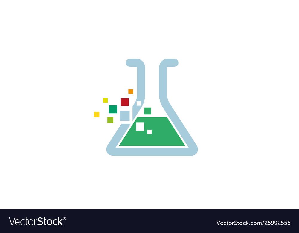 Creative pixel beaker lab logo design symbol.