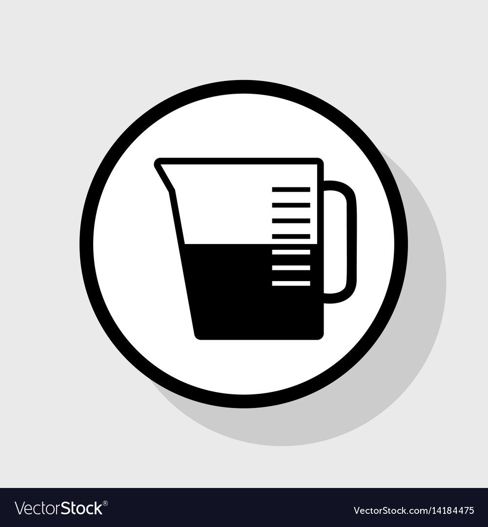 Beaker sign flat black icon in white.