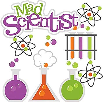 Mad Scientist Clip Art Beaker Test Tubes Edible Cake Topper Image.