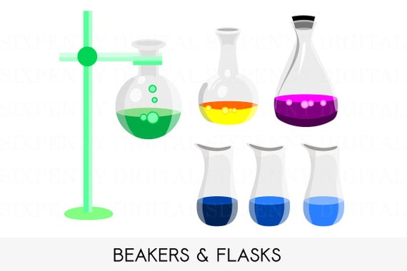 Science Clipart, Chemistry Clipart Set, Test Tube, Flasks, Beakers and  Flask Stand, Educational Printable Art.