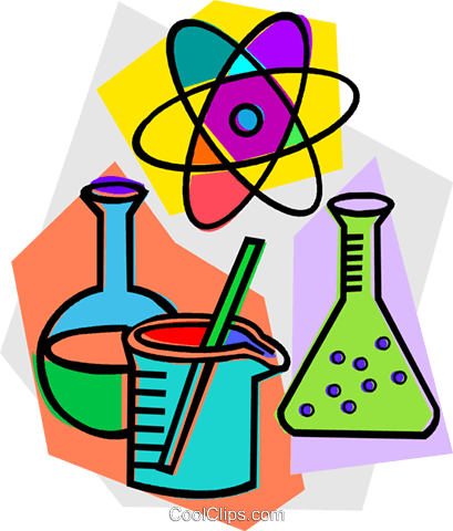 beakers with atomic symbol Royalty Free Vector Clip Art illustration.
