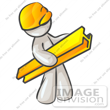 Clip Art Graphic of a White Guy Character Carrying a Beam.