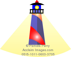 Clip Art Image of a Cartoon Lighthouse With a Beam of Light.