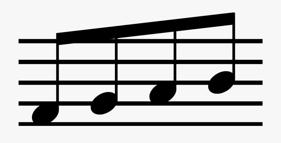 Four Eighth Notes Beamed Together , Transparent Cartoon.