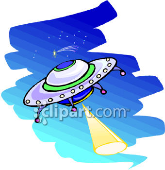 Royalty Free Clip Art Image: UFO Beaming a Light Down To Earth.