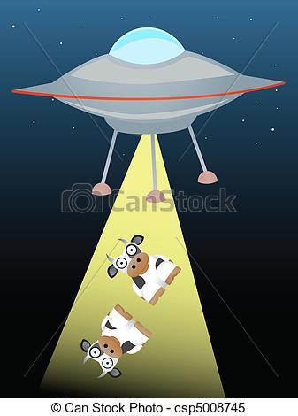 Clipart Vector of Ufo beaming up two cows in beam of.