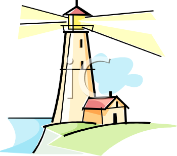 Clip Art Illustration of a Lighthouse With the Light Beaming.