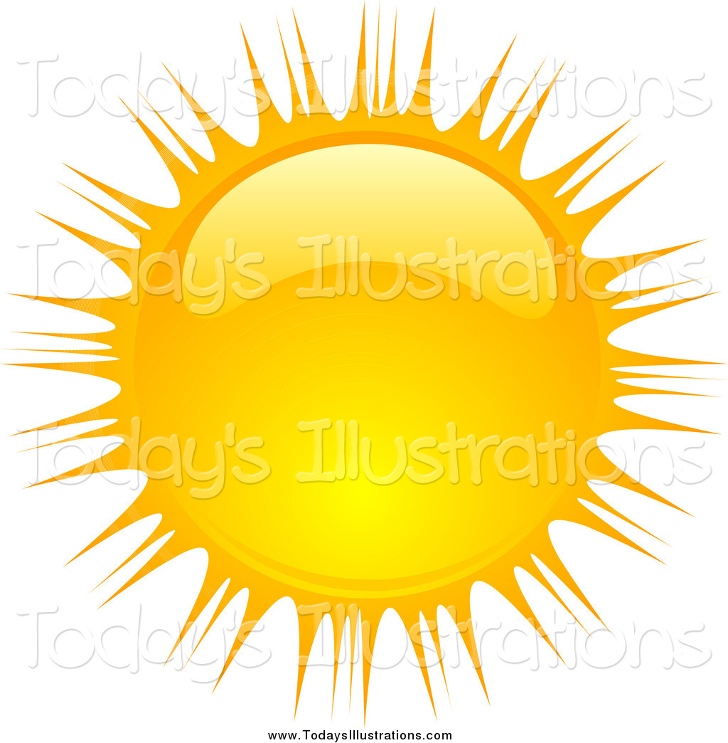 Clipart of a Beaming Shiny Summer Sun by KJ Pargeter.