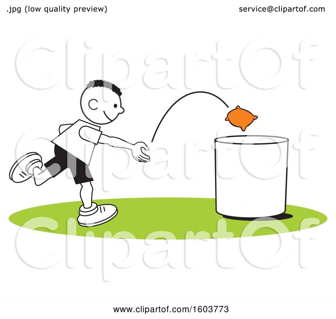 Clipart of a Black Boy Playing a Bean Bag Toss Game.