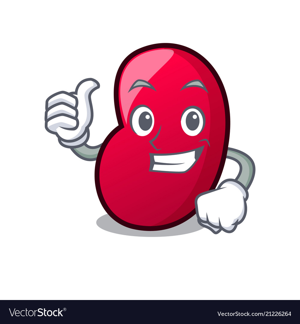 Thumbs up jelly bean character cartoon.