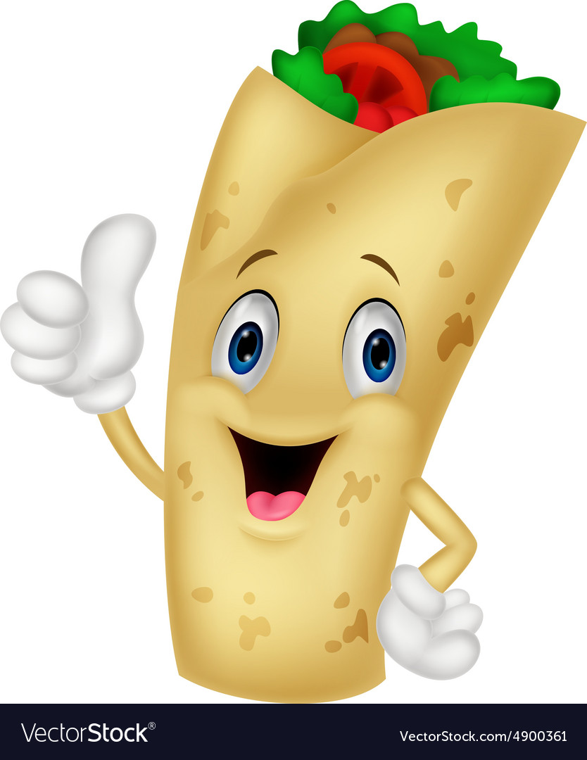 Burrito cartoon character giving thumbs up.