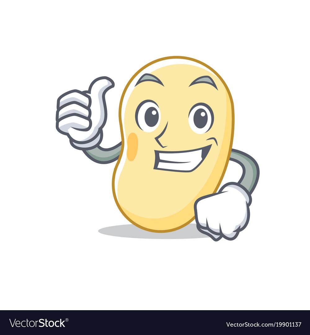 Thumbs up soy bean character cartoon.