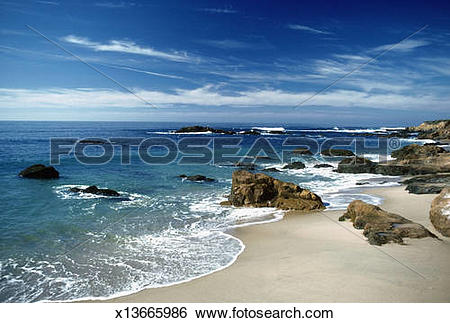 Stock Images of Rocks at a coastline of a sea, Bean Hollow Beach.