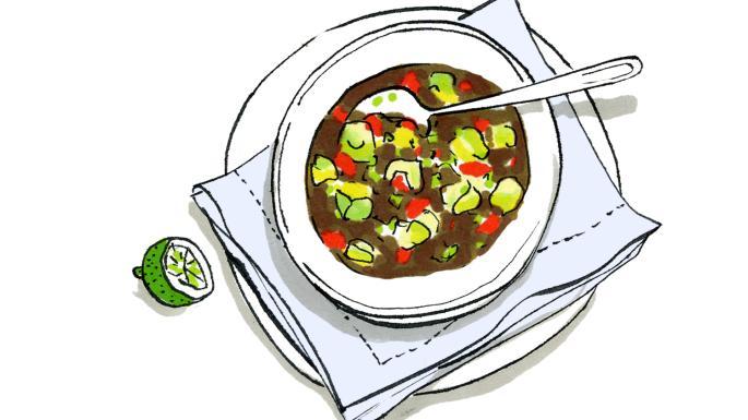 Recipe: Lindsey Bareham\'s black bean soup with avocado.