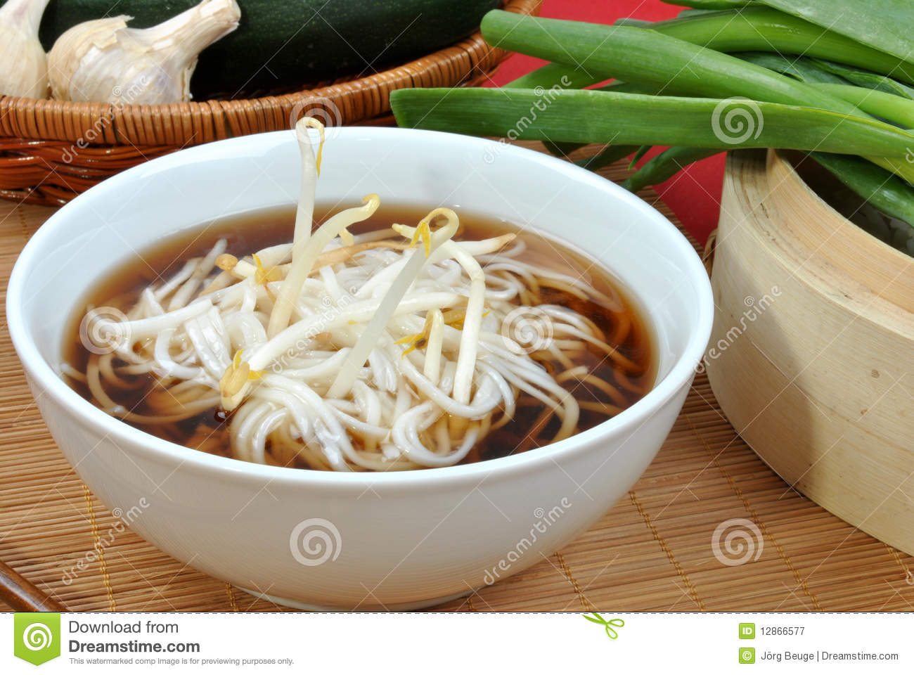 Japanese Style Noodle Soup And Bean Sprouts Royalty Free Stock.