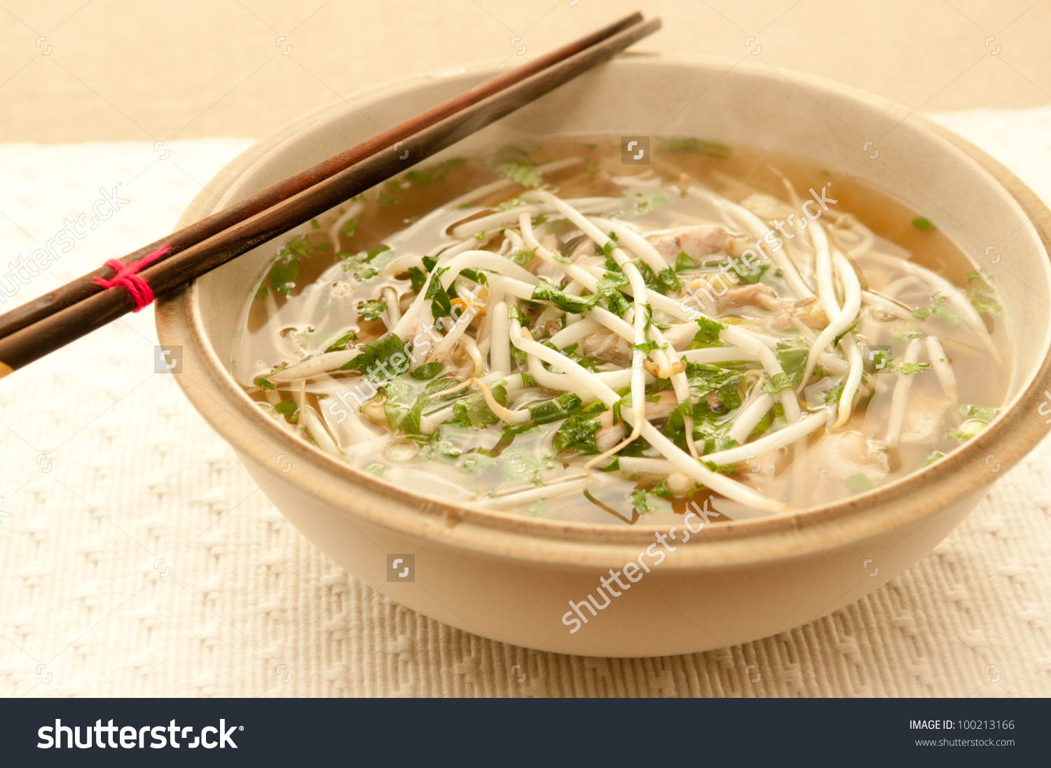 Vietnamese Pho Soup, An Ethnic Meal Of Chicken Soup, Broth, Bean.