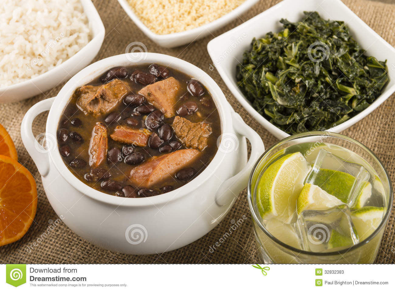 Black Bean Stew Served With Manioc Flour Kale White Rice And.