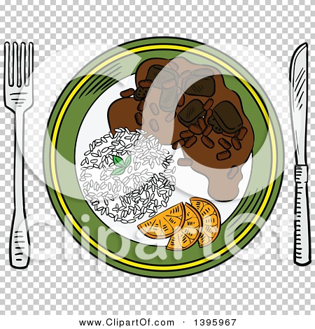 Clipart of a Sketched Plate of Pork and Bean Stew Feijoada.