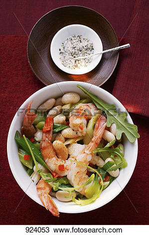 Stock Photo of Bean stew with shrimps and rocket 924053.