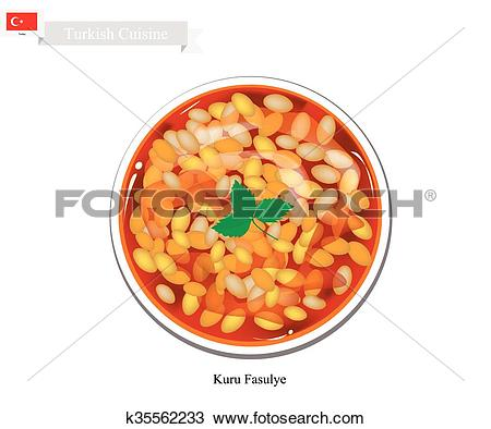 Clipart of Kuru Fasulye or Traditional Hot Turkish Bean Stew.