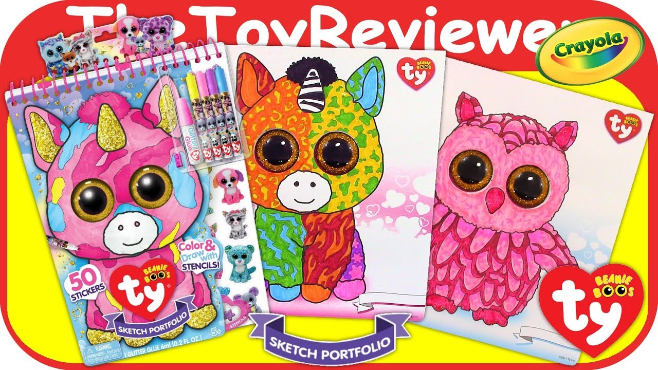TY Beanie Boo Sketch Portfolio Color Babies Coloring Markers Unboxing Toy  Review by TheToyReviewer.