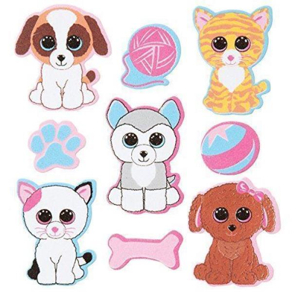 Details about Darice, 18 Piece, Ty Beanie Boo Foam Sticker, Pets Theme.