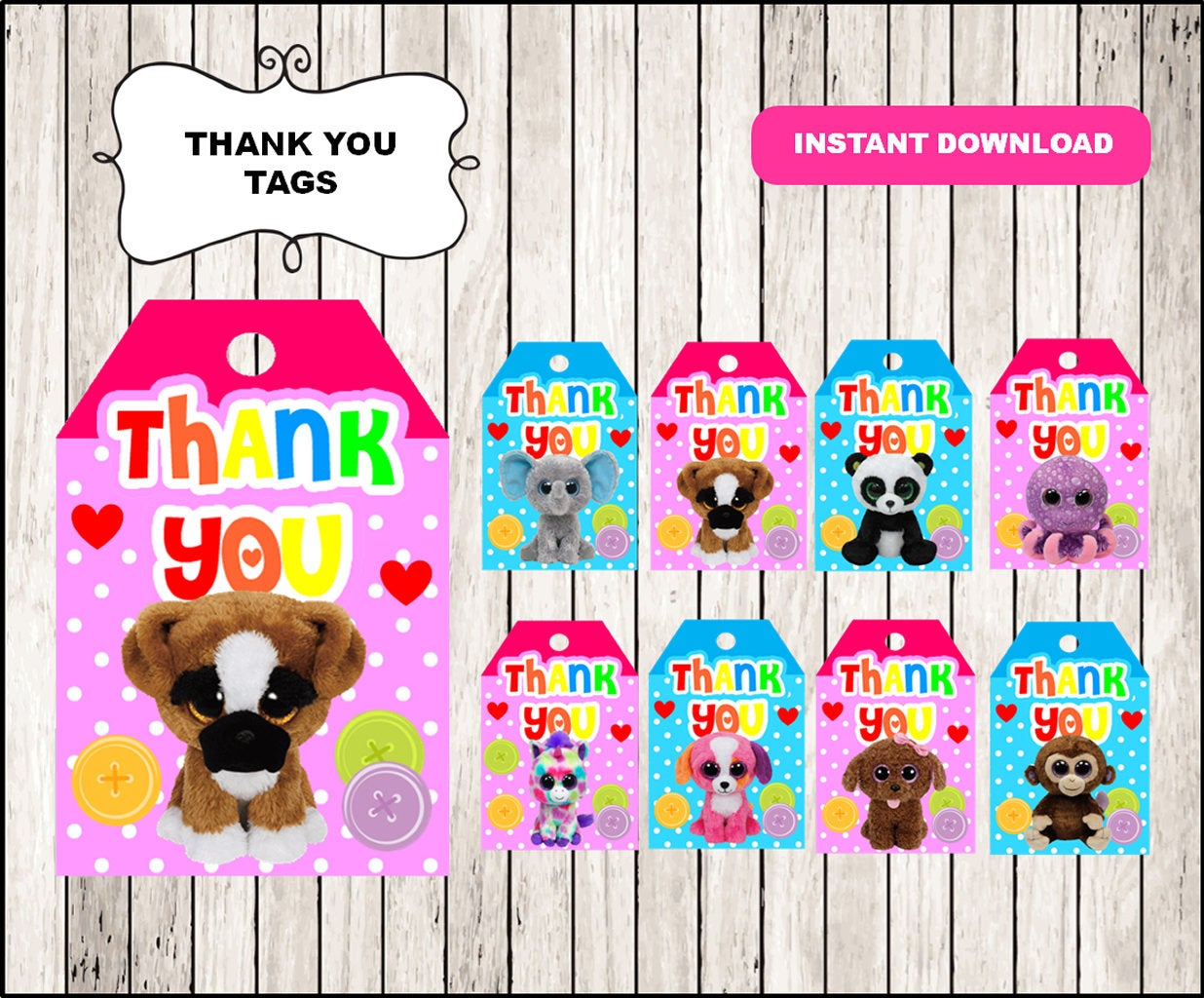 Beanie Boo thank you tags instant download, Printable Beanie Boo party  thank you tags, Beanie Boo tags.